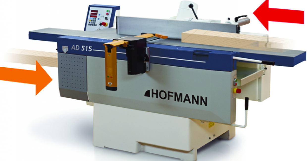 The AD series of planer and thicknessers is described as unique as it allows both modes of operation without folding up the tables
