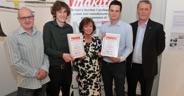 Left to right: Andrew Shenton (Bucks New University), Ross Kinnaird (Runner Up), Jackie Biggin (Makita UK), Tim King (Overall Winner) and Ray Wilby (Makita UK)