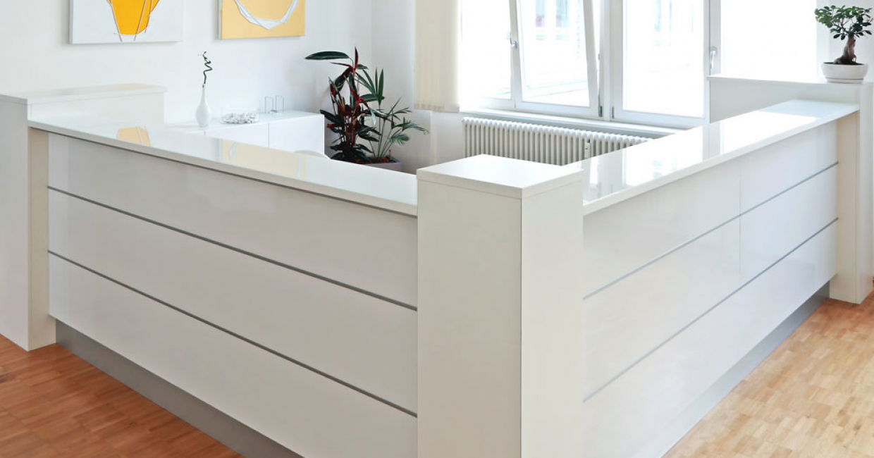 White stands for cleanliness and hygiene and so is still the main colour and ever-popular for laboratories, clinics and doctors' practices