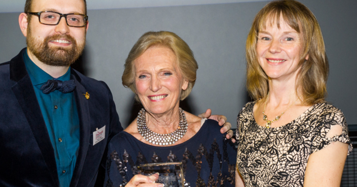Mary Berry (centre) presenting Graeme Smith and Jill Lundberg of PWS with House Beautiful's Gold Award for best luxury kitchen