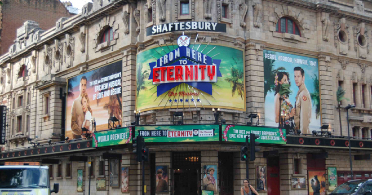 A colourful example of West End theatre signage created produced by Newman Displays
