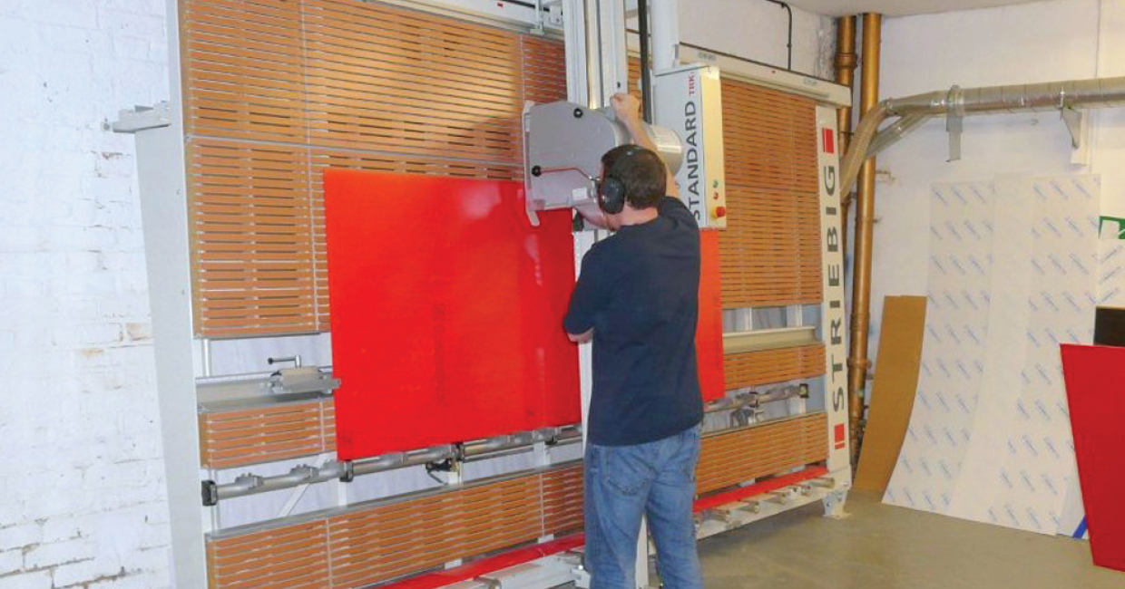 This Striebig Standard has greatly improved the sizing of sheet material at Newman Displays