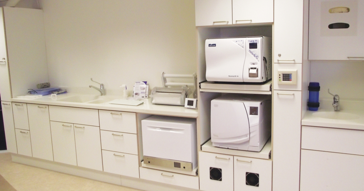A display of the types of dental cabinet options manufactured by PHG