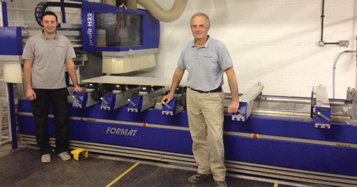 Jon and Peter Norris with their new acquisition, a Profit H22 CNC machine from Felder