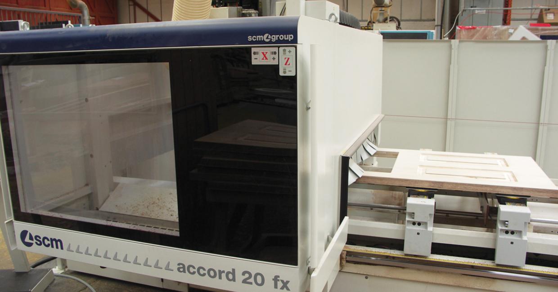 Machining a door blank on an SCMCNC machining centre at Solidor
