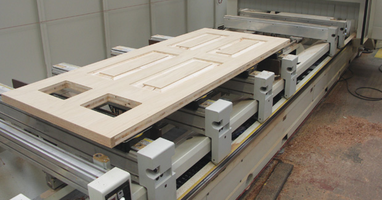 Machined door blank on SCMAccord 20FX CNC machining centre at Solidor