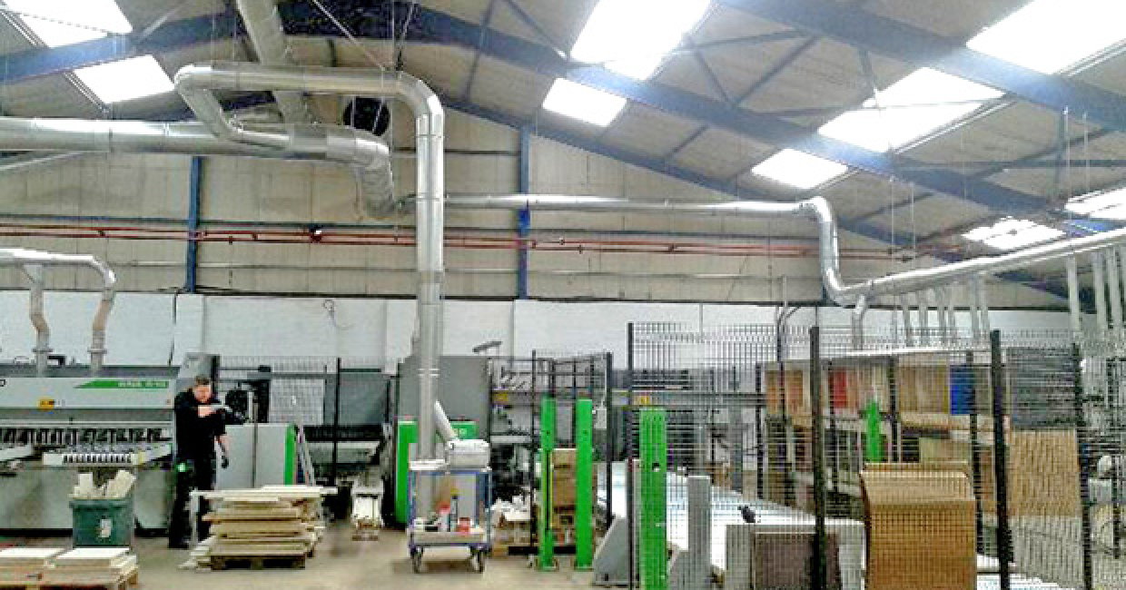 New ducting by Dustraction is now feeding many more machine stations at the new Wellingborough factory of Handcraft