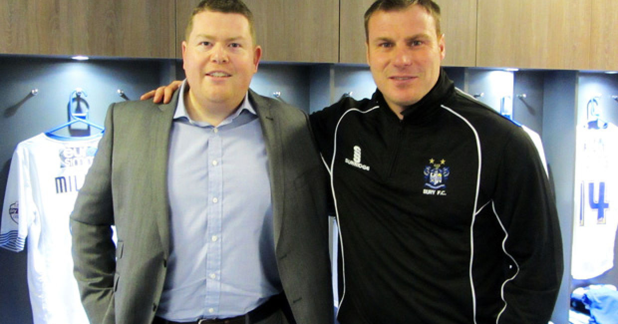 From left: Richard Hughes, sales manager for Kronospan and David Flitcroft, Bury FC first-team manager