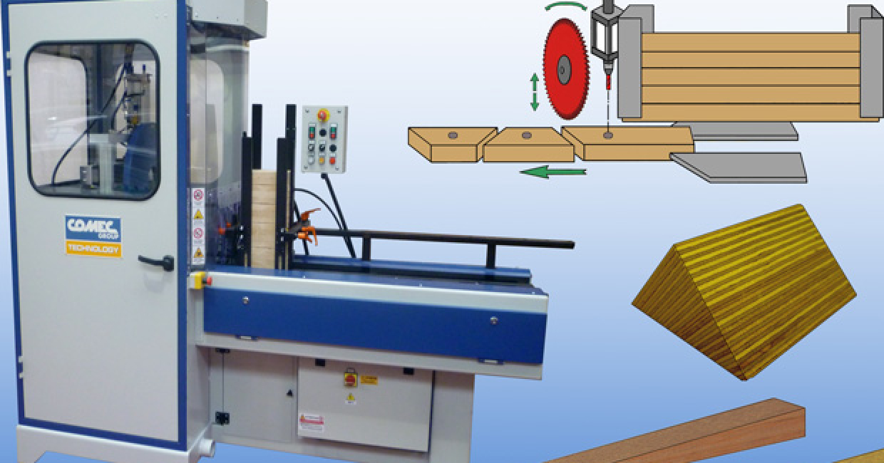 The Comec TAC1 automatic hopper-fed, cross cut saw