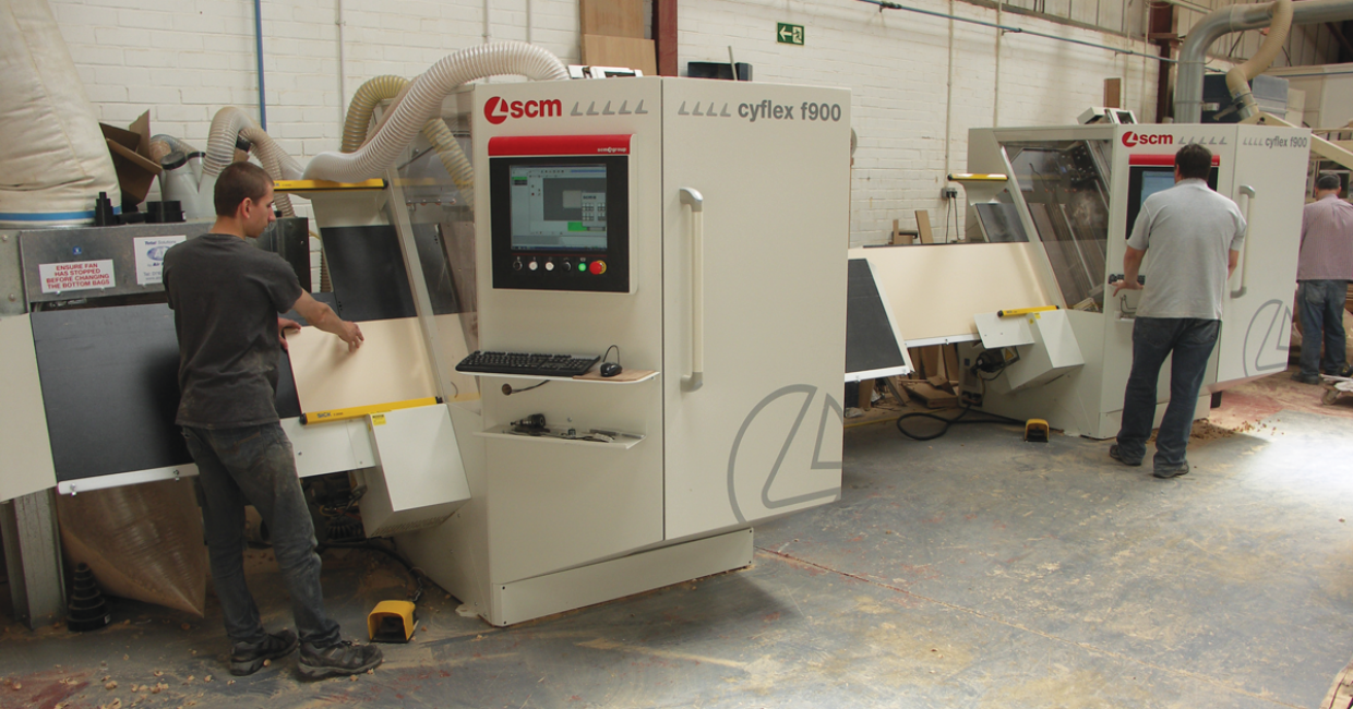 Ridgeway Furniture's two SCM Cyflex CNC drilling machines working in tandem