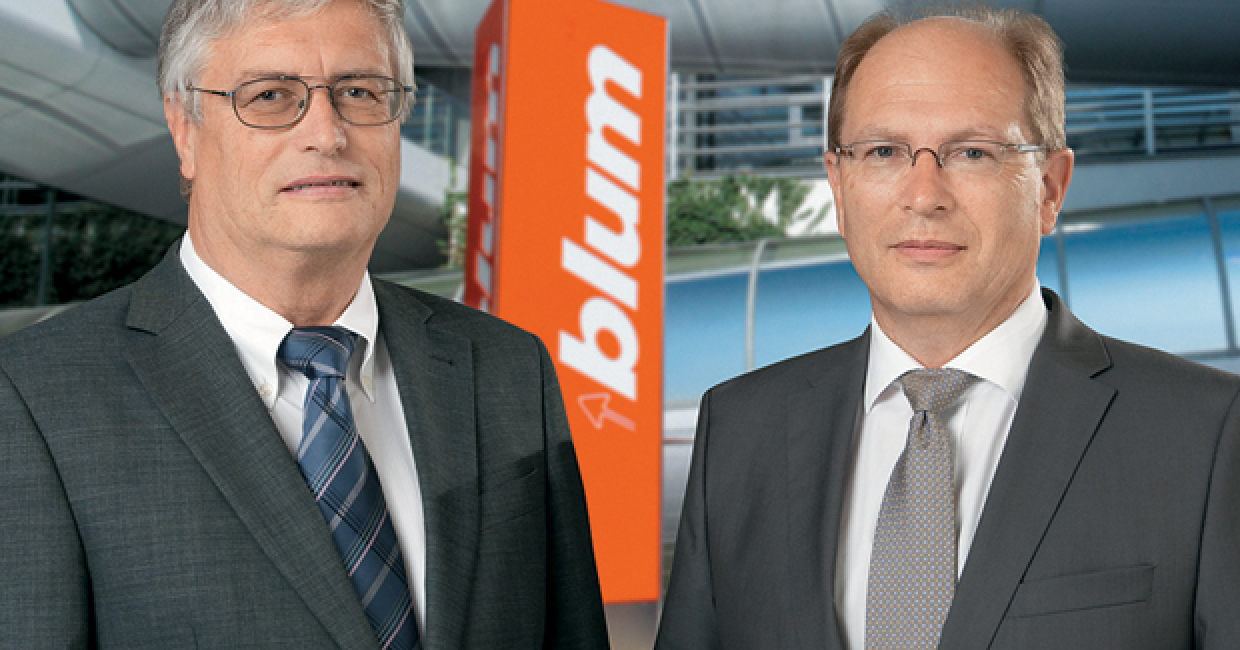 Blum CEO Herbert Blum (left) retired from the business operations of Julius Blum GmbH on 1st July 2014. Pictured with CEO Gerhard E Blum.