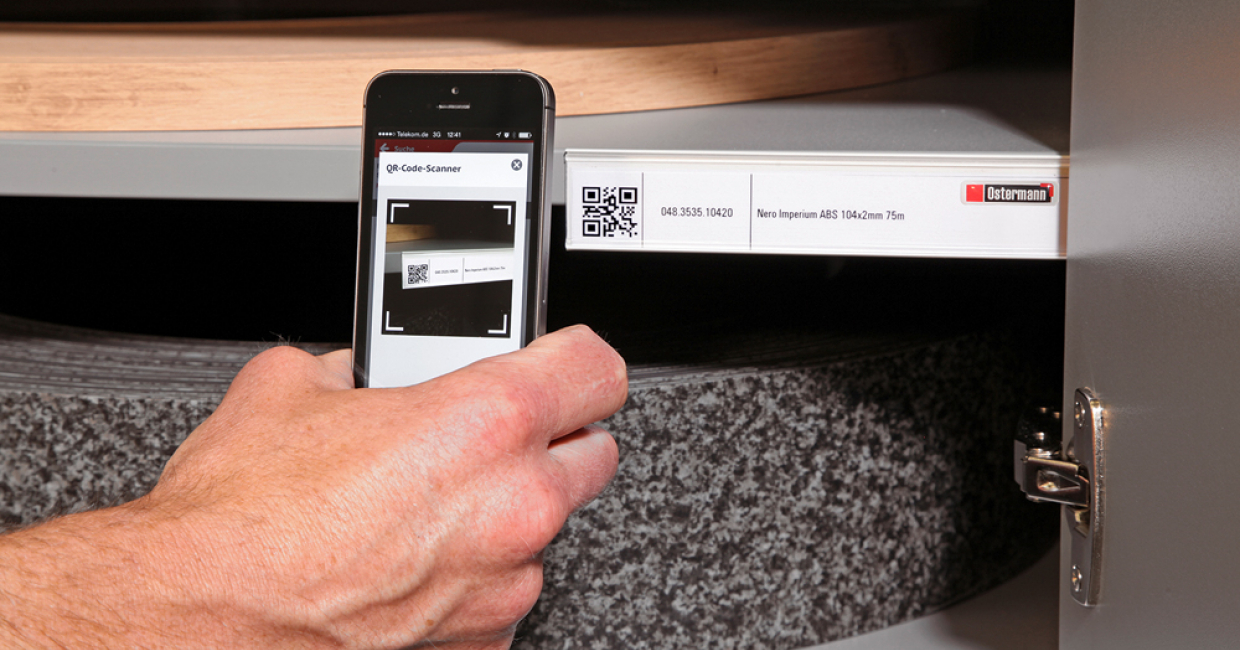 With the Ostermann App, Ostermann customers have the ability to generate QR codes for their frequently ordered edgings