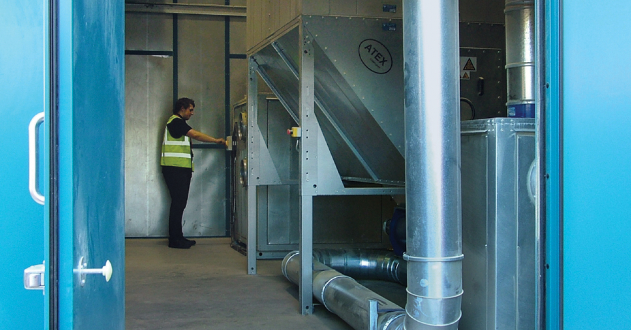 Externally-sited filter plant contained within an acoustic enclosure