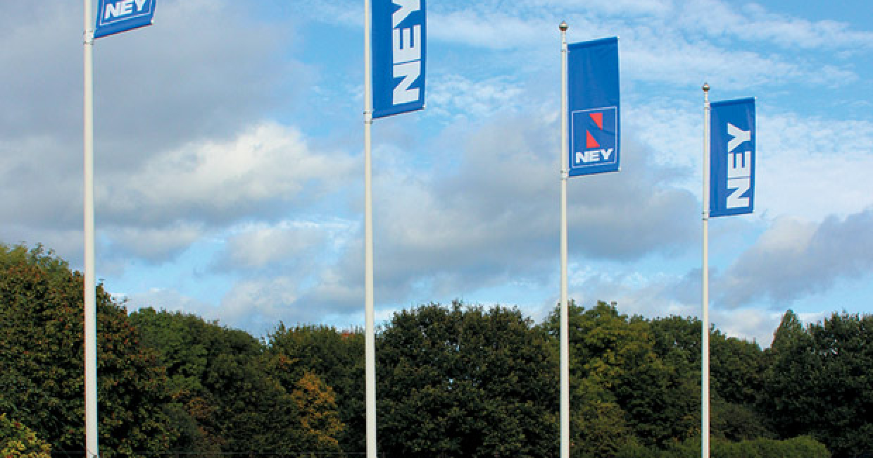 Welcoming flags at Ney's Coventry headquarters