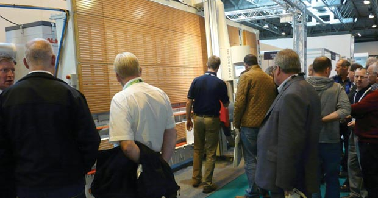 Striebig's new 4D vertical panel saw attracted the crowds at W14