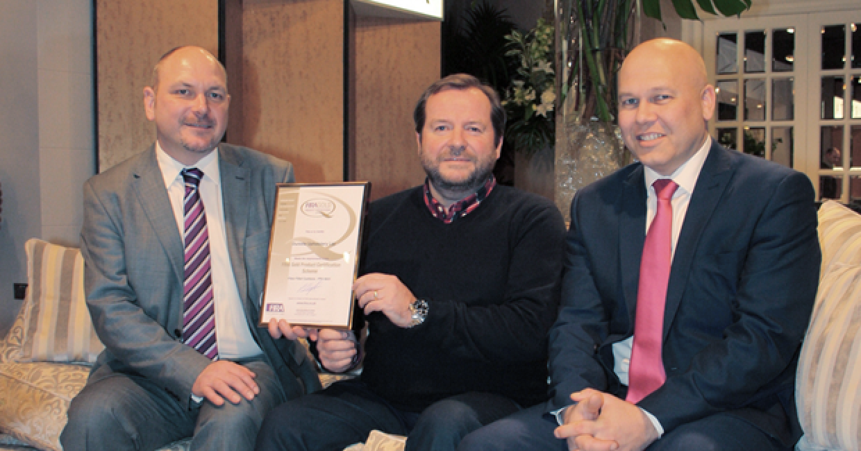 Presentation with Duresta on their stand at the January Furniture Show (L-R) Andy Corbett, Commercial Director for Prima Foam, Dave Johnstone, new product development manager at Duresta, and Phil Reynolds, chief operating officer for FIRA