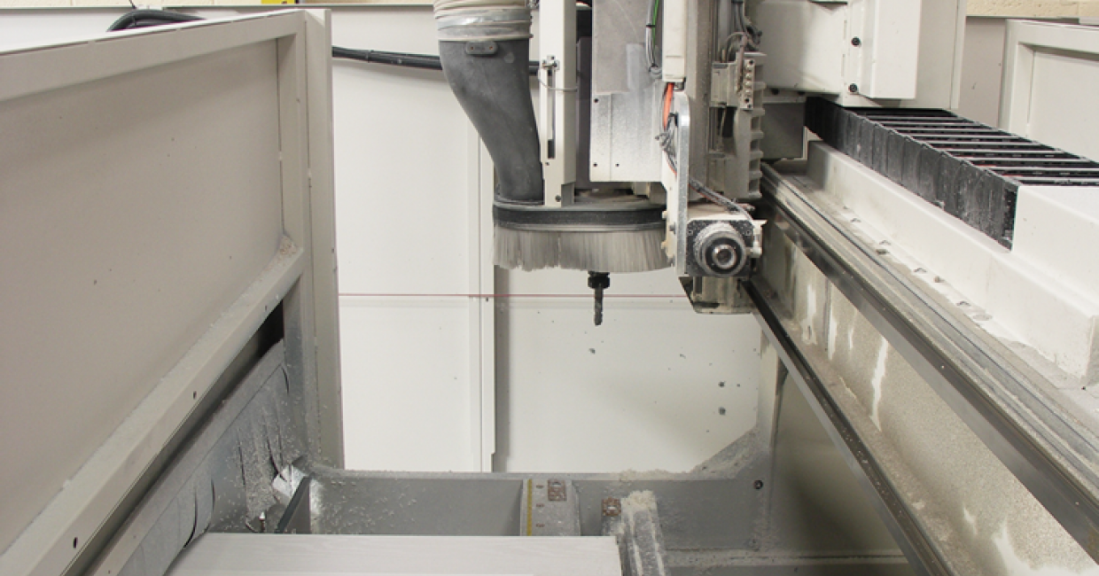 Vertical and horizontal routing heads on SCM CNC machining centre at Frame Fast