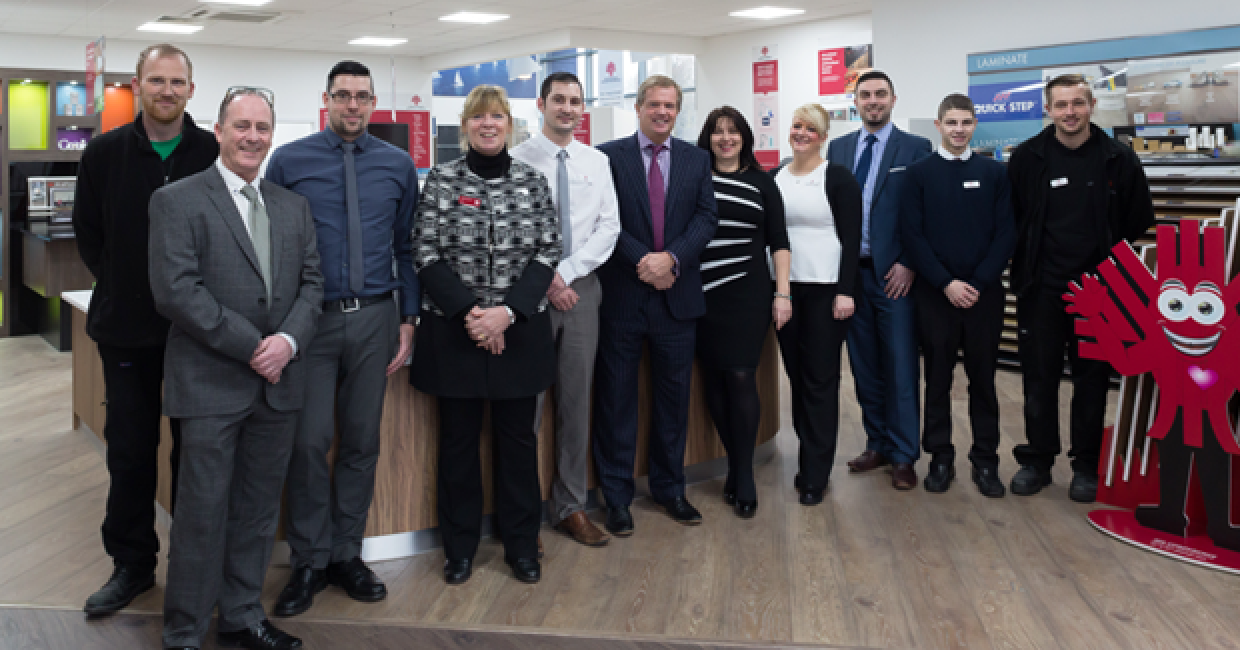 John Bagshaw (centre) with his Southampton team at the opening of the new IDS Southampton distribution branch and showroom