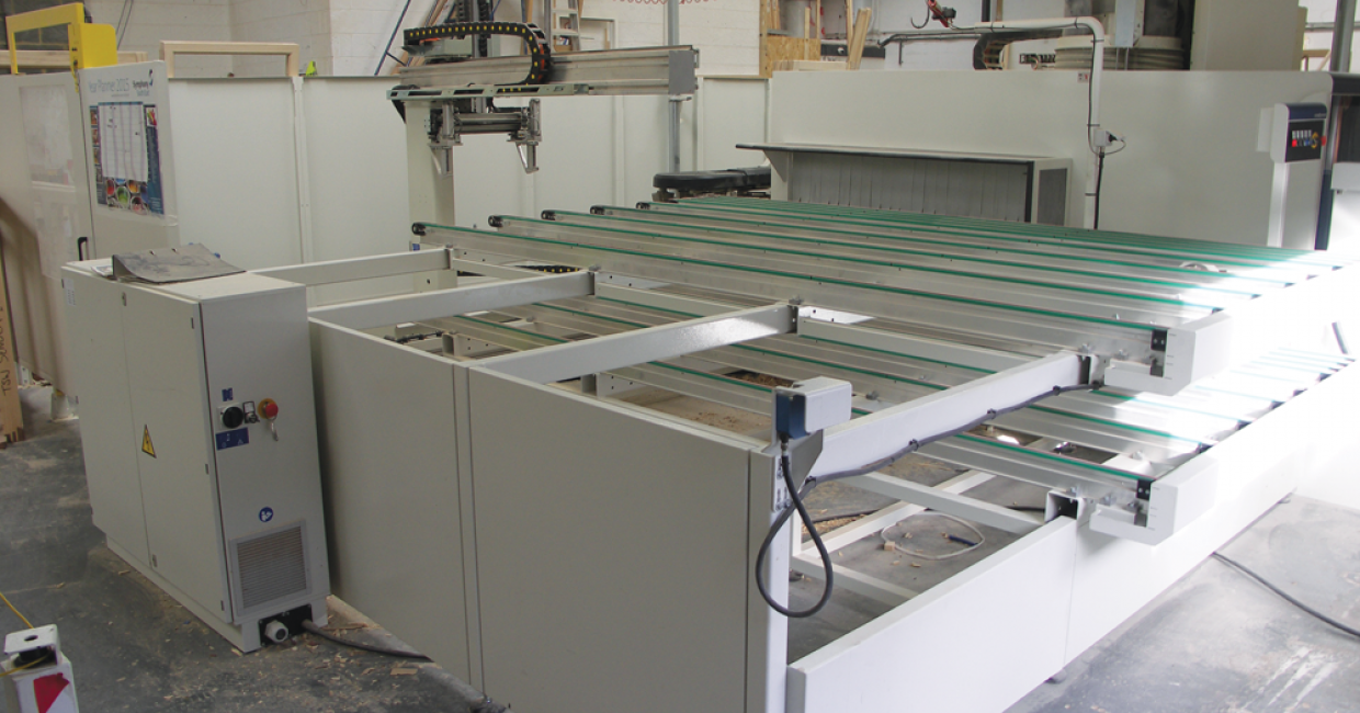 Infeed loading and outfeed unloading station on SCM Accord WD at Traditional Sash Windows