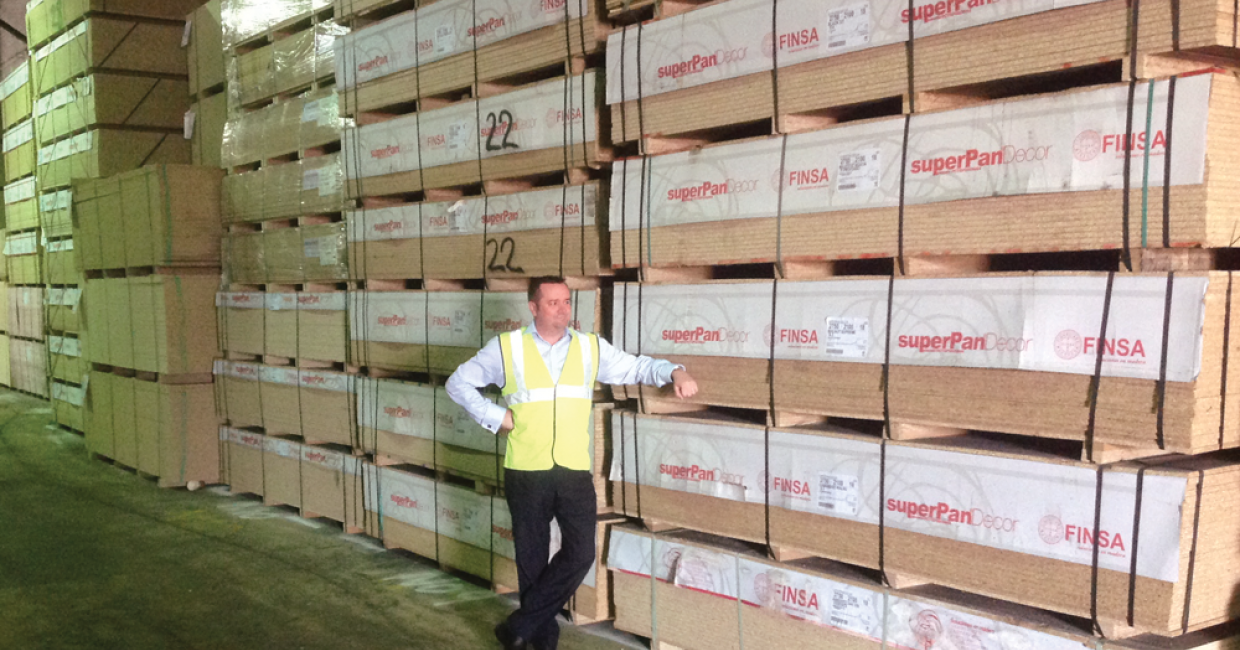 Dave Huggins with the Finsa Superpan product in the IDS warehouse