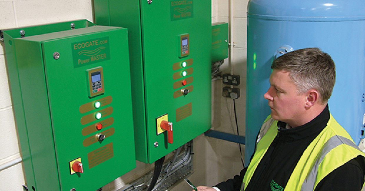 Ecogate's Ian Rayner checks out Broadstock's power savings after six months of operation