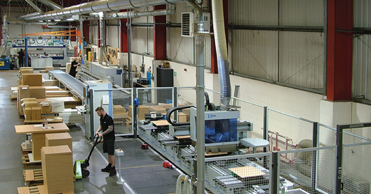 A section of the Broadstock machine area where optimised extraction ensures that fan speeds are automatically adjusted as demand changes