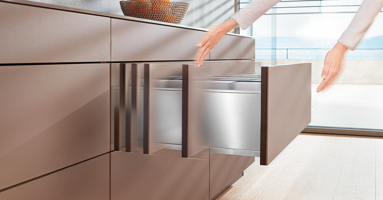 New Blum products are setting the trends for handle-less, touch-to-open frontals for kitchens and furniture throughout the home