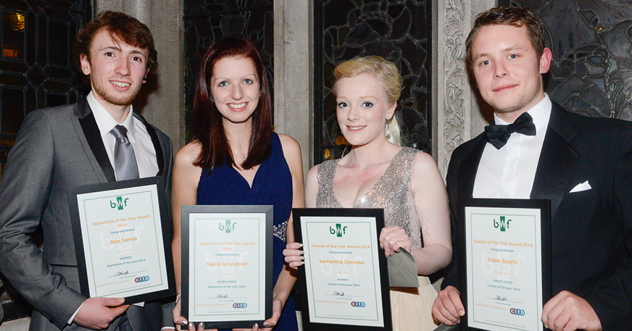 Apprentice and trainee winners and shortlisted. L-R: Ben James, Nadia Connabeer, Samantha Chesson, Adam Smyth