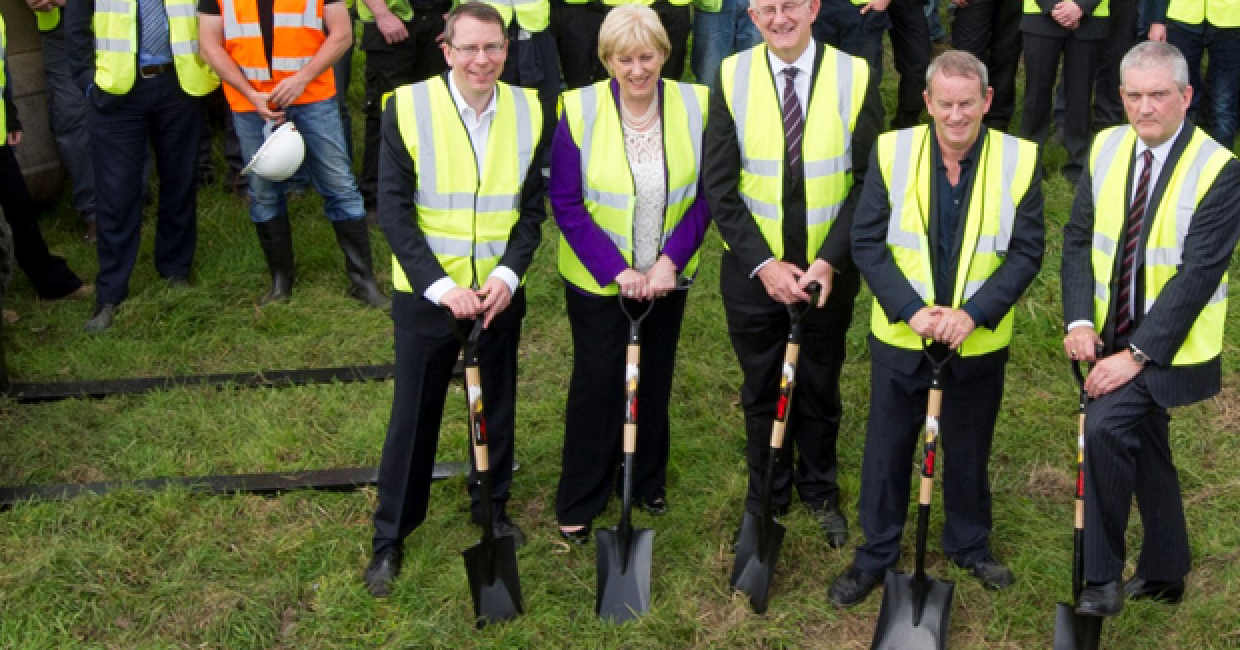 A ceremonial breaking of the ground signified the start of 18 months' work