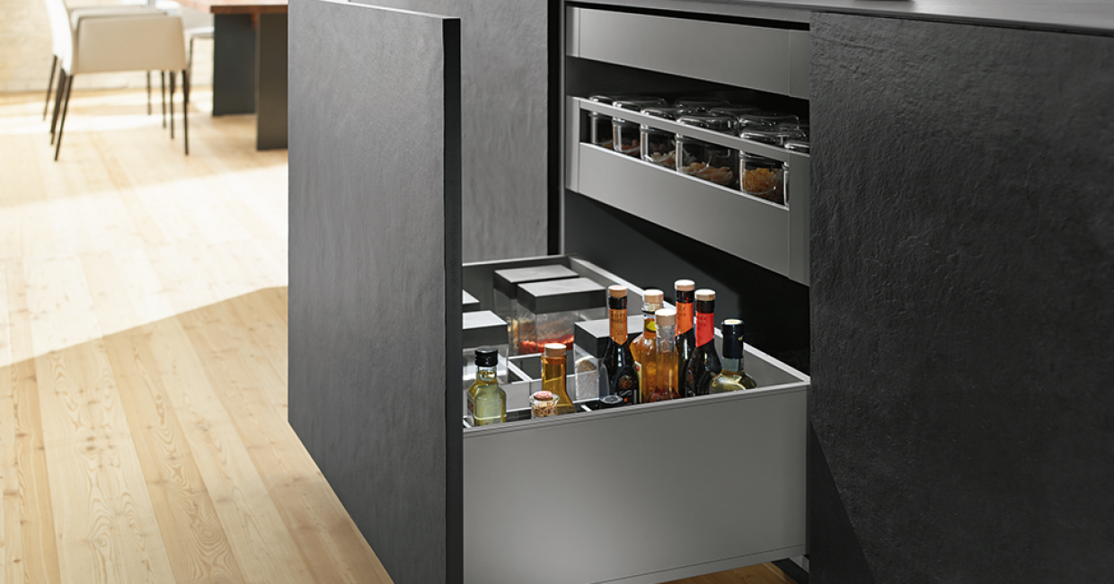 Legrabox, Orion Grey, high fronted pull-out with internal drawer