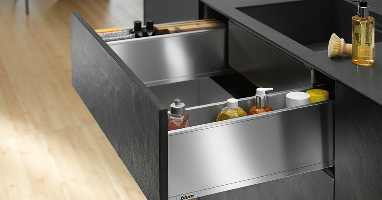 Legrabox pure, Sink Drawer in stainless steel