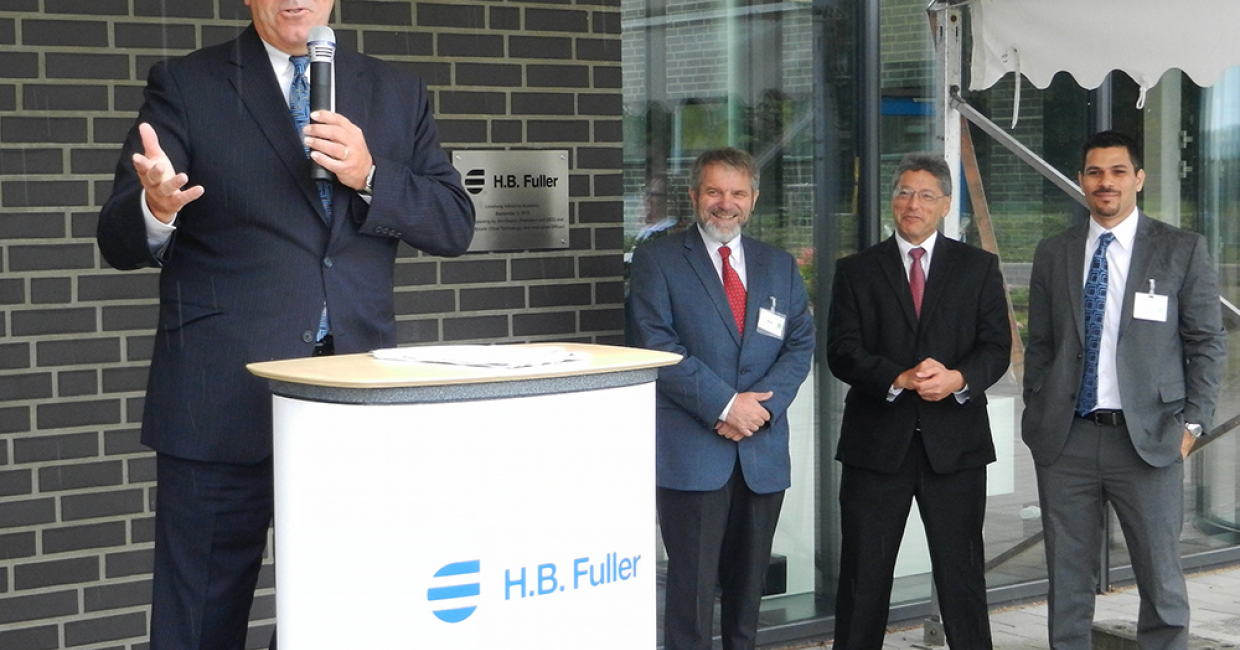 HB Fuller's President and CEO, Jim Owens, welcomes guests from a round the world to the official opening of the new academy