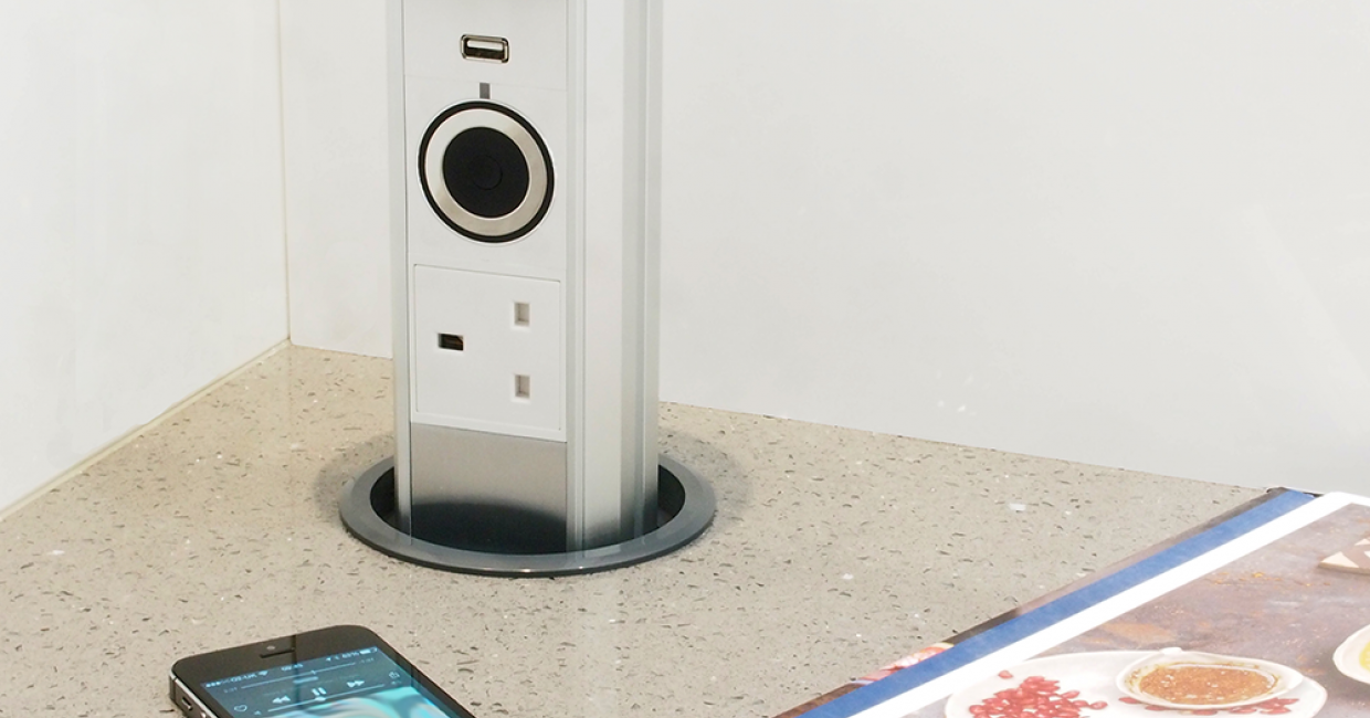 Motorised pop up audio socket with USB – A built in Bluetooth wireless speaker enables users to stream music from connected devices