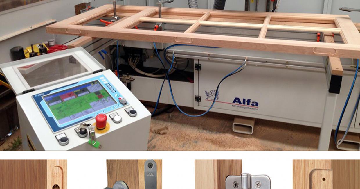 The Alfa ideal for machining out for three point locking systems, mortise locks, hinge recessing, louvre shutter slots, window vent slots etc
