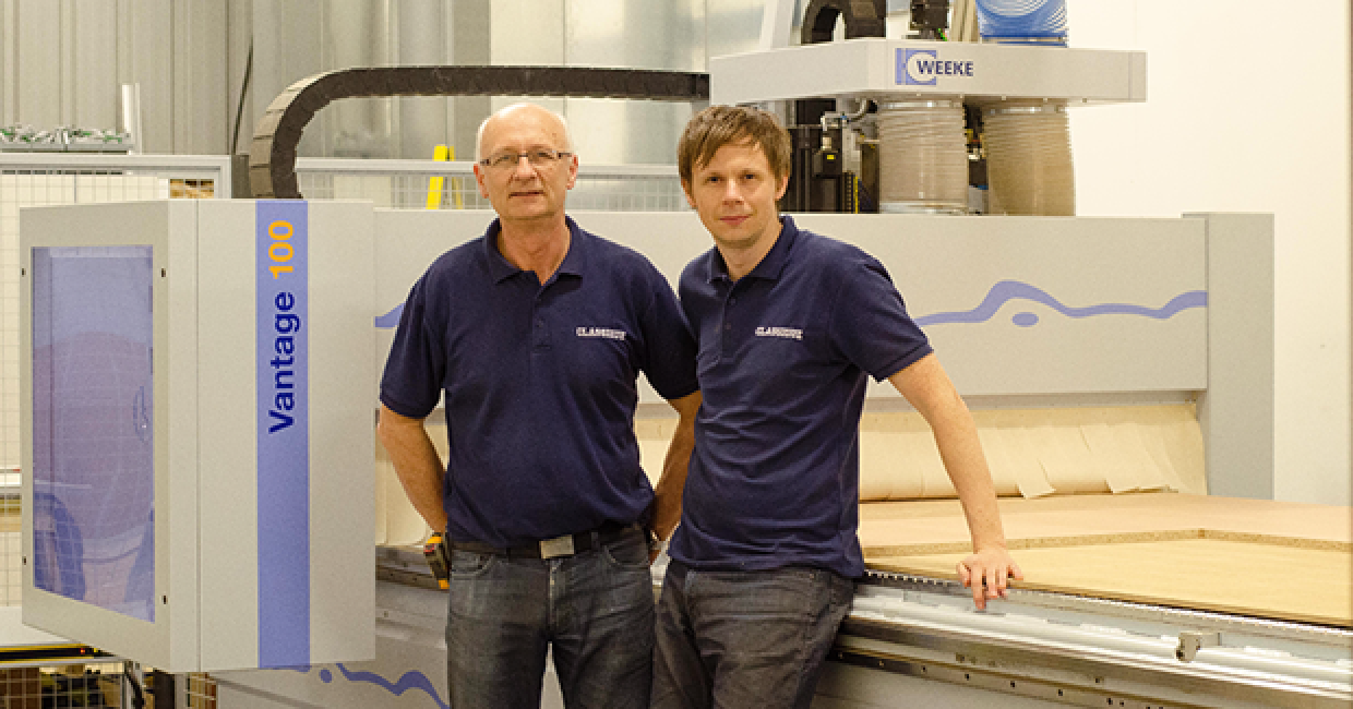 Father and son team, Ian and Nathan Clark with their WEEKE Vantage 100 CNC