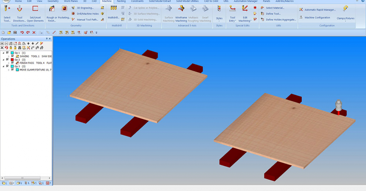 Alphacam continues to develop automating the movement of pods, rails and clamps