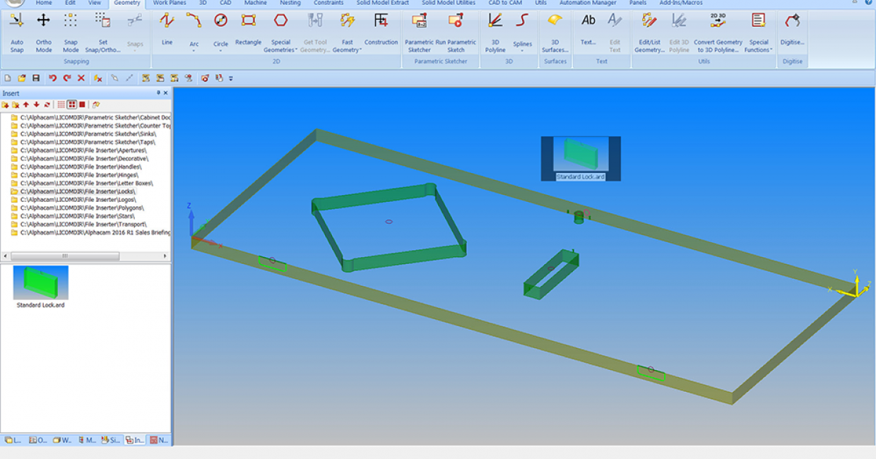 File Inserter allows pre-defined elements such as hinges and locks on a door to be inserted easily onto a newly-created drawing from the parametric sketcher