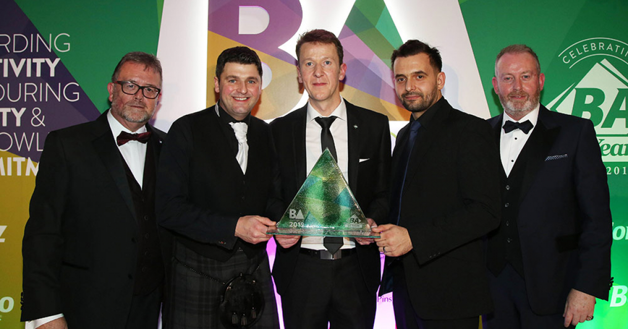 Glenlith Interiors receiving their award for Most Innovative Use of a BA Product. Presented by Niall Laird, Managing Director of Lairdesign
