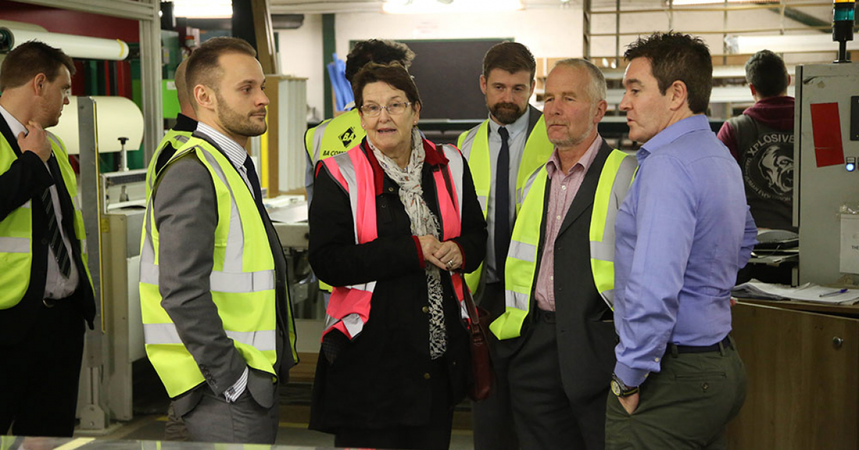 Guests enjoying the factory tour led by Kieran McCracken