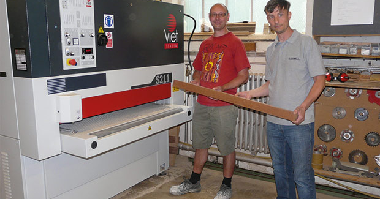 Joinery manager Lee Grant (right) with the new Viet sander