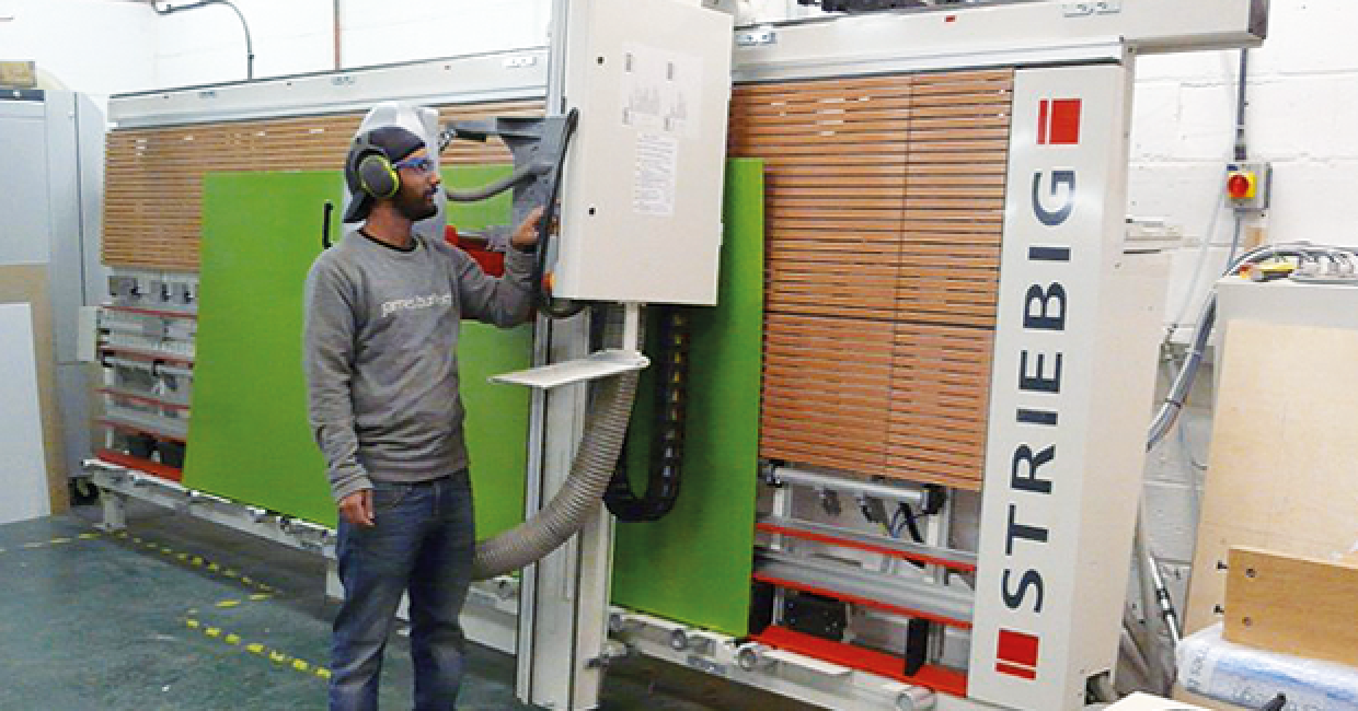 The highly automated Striebig Control vertical panel saw at James Burleigh