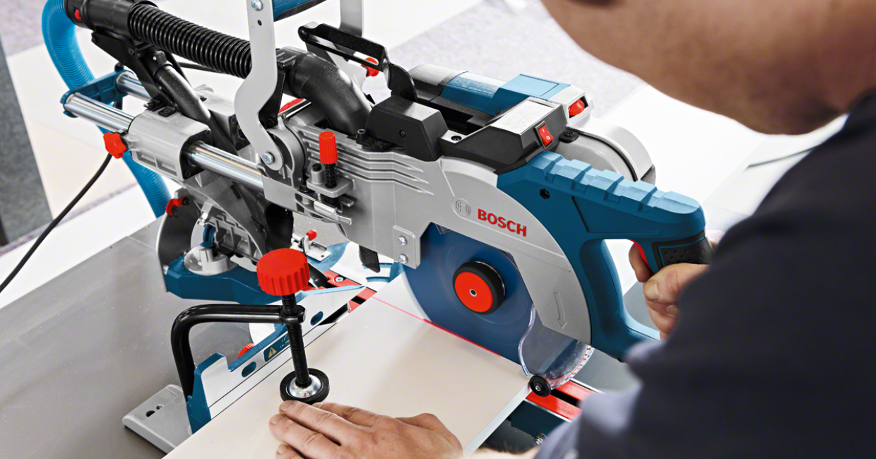 Both of the new sliding mitre saws include a laser-projected cutting line