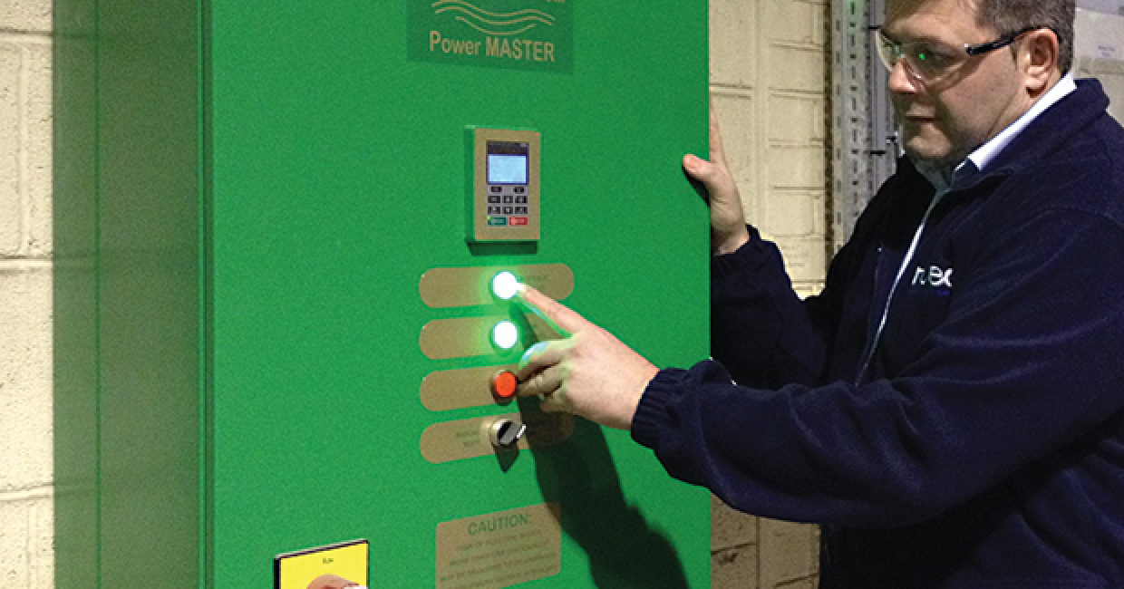 Paul Moxon checks energy savings at the Ecogate Power MASTER variable speed/controller unit