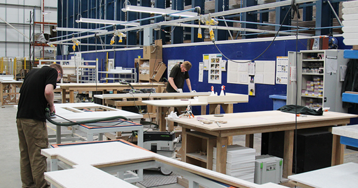 Solid surface fabrication in the PWS worktop factory
