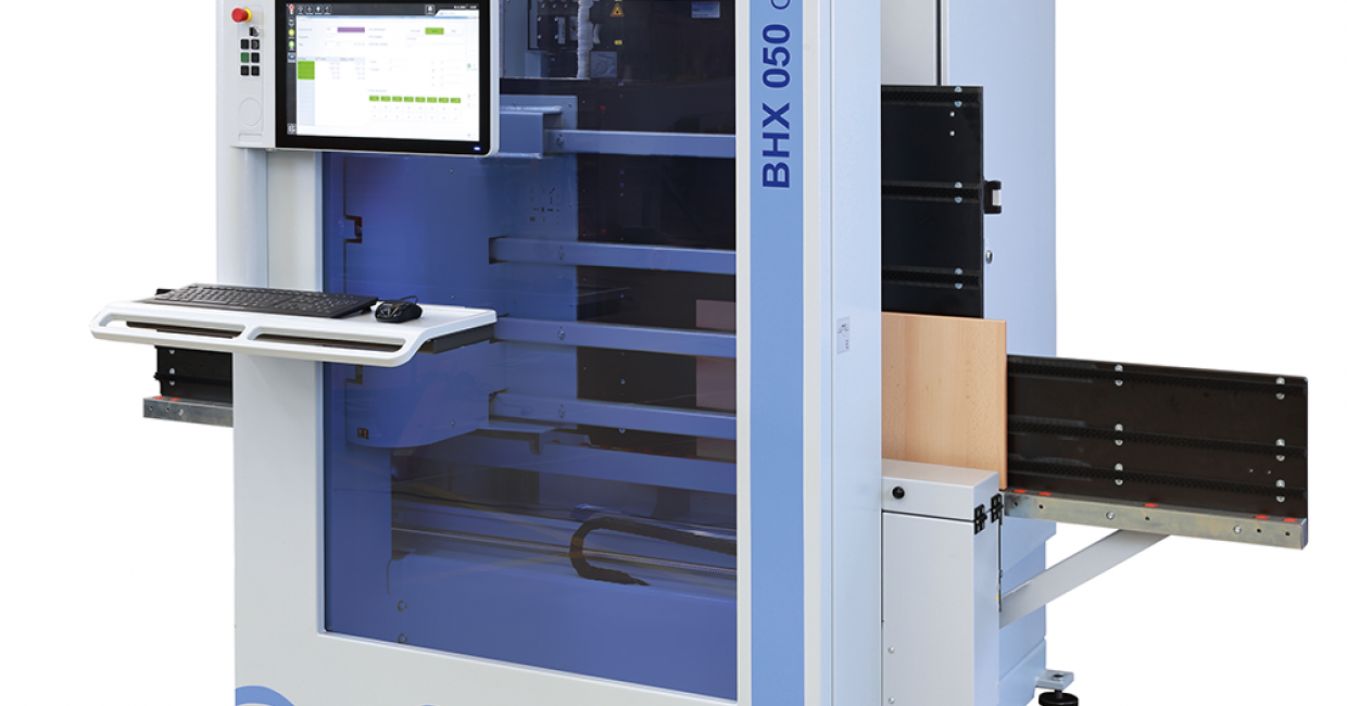 The Weeke BHX 050 Optimat ultra-compact drilling centre featuring the new powerTouch control system