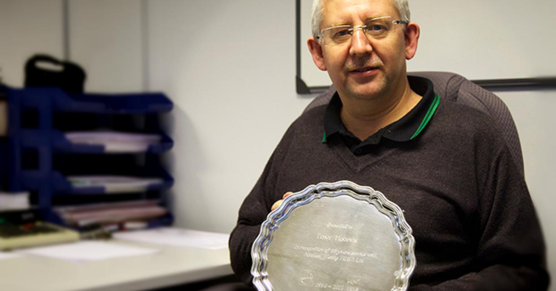 Tony Hooper celebrates 25 years service for Weinig UK