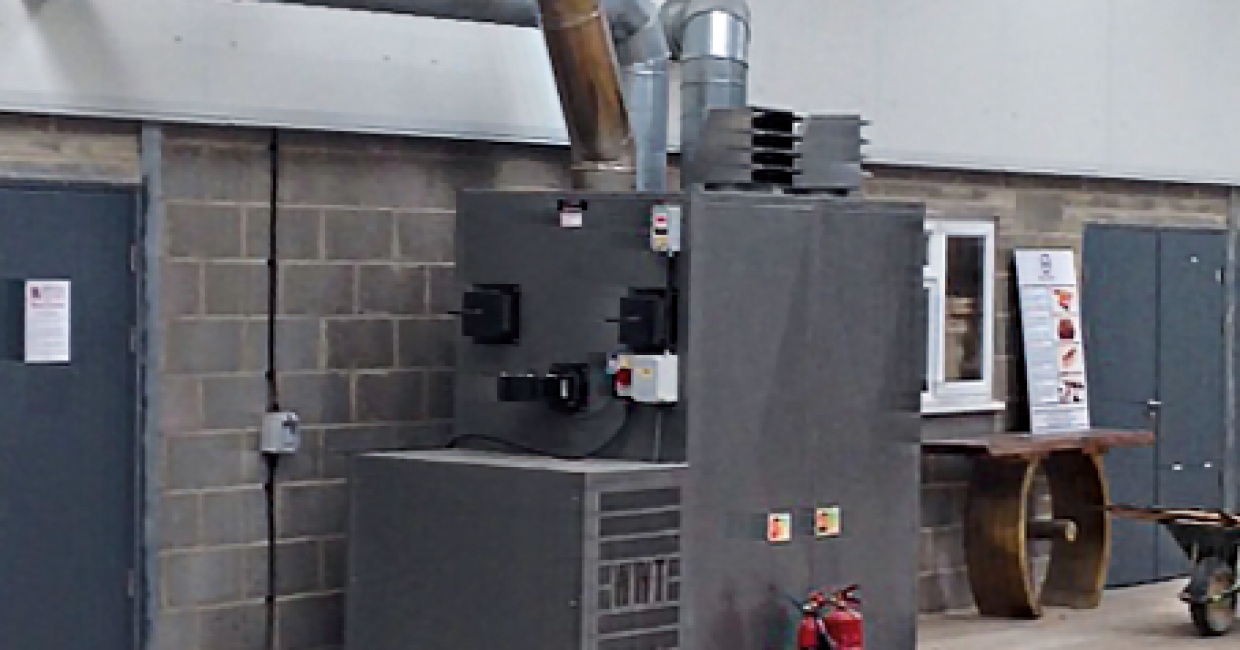 The Wood Waste Technology heater in the The Sylva Foundation's Wood Centre in Oxfordshire