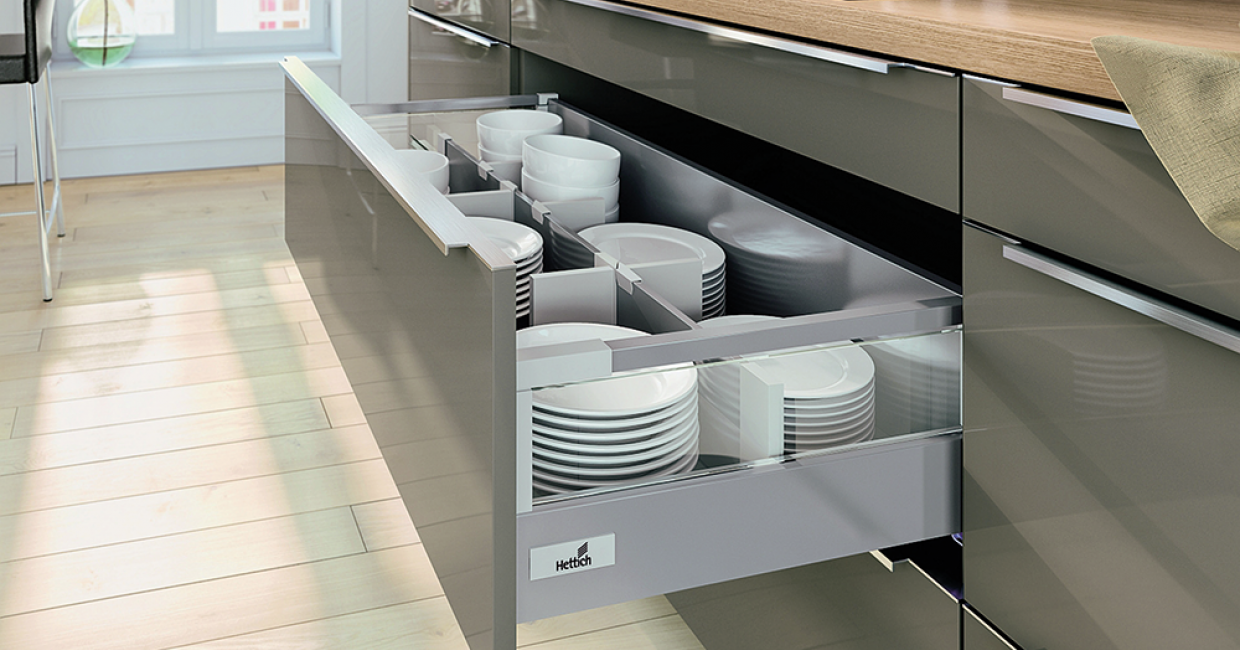 Based on the renowned Quadro runner, InnoTech Atira offers the perfect entree into double walled drawer systems with options for full extension, soft close Silent System or Push to Open solution
