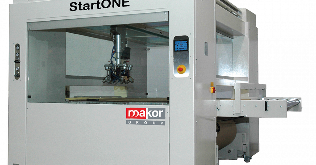 Makor's StartONE machine includes a control panel and provides a flexibile, reliable, easy-to-use solution for JIT production with paint or glue