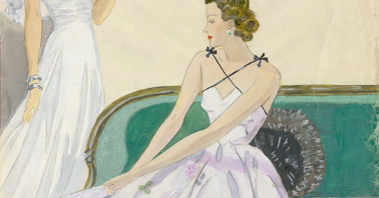 Fashion drawings by Heinz Joseph Gerber dating back to the 1940s, when he was being trained in Vienna